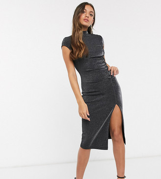 Fashion Union Petite high neck midi dress with thigh split-Black