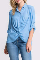 Lush Blue Twist-Front Shirt