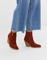 Asos DESIGN Relative suede studded heeled western boots in rust