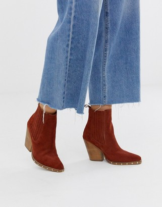 Asos Design DESIGN Relative suede studded heeled western boots in rust-Tan
