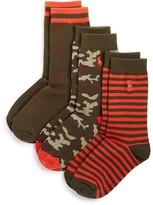 Ralph Lauren Boys' Patterned Socks, 3 Pack - Sizes 8-11