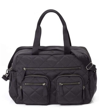 OiOi Carry All Black Diamond Quilt Nappy Bag Black