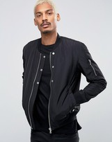 Esprit Quilted Nylon Bomber Jacket In Black