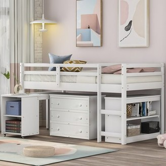 Harriet Bee Sanne Twin Low Loft Bed with Desk, Bookcase and 6 Drawers Bed Frame Color: Gray