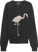 Markus Lupfer Flamingo Sequin-embellished Merino Wool Sweater - Charcoal