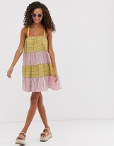 Asos Design DESIGN trapeze mini sundress in mixed stripe