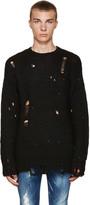 R 13 Black Alpaca Grunge Sweater
