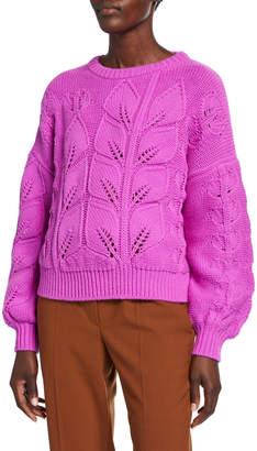 Escada Salica Wool-Cashmere Woven-Leaf Sweater