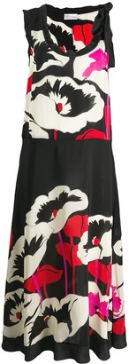 RED Valentino Floral-Print Silk Dress