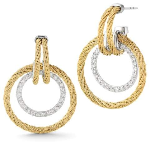 Alor 18K White Gold 2mm Yellow Cable and Stainless Steel 0.49ct Diamond Earring
