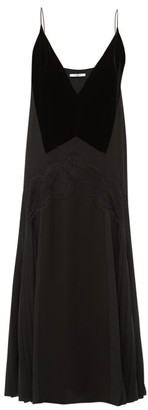 Givenchy Lace-trim Pleated Midi Dress - Womens - Black