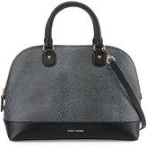 Cole Haan Milena Lizard-Embossed Leather Satchel Bag, Black/Ivory