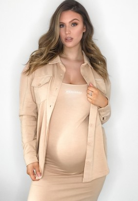 Missguided Camel Jersey Maternity Shirt
