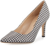 Neiman Marcus Cissy Printed Pointed-Toe Pump, Black/White/Houndstooth