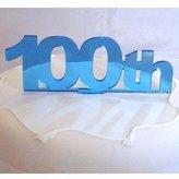 100th Cake Topper Blue Mirror - 10cm x 12cm inc spike