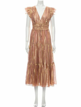 Ulla Johnson Silk Long Dress w/ Tags Metallic