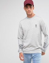 Jack and Jones Crew Neck Sweat with Sleeve Print Placement