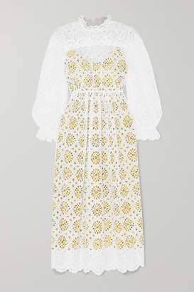 Diane von Furstenberg Leandra Broderie Anglaise Cotton Maxi Dress - White