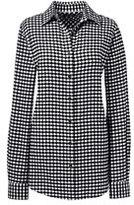 Lands' End Women's Tall Long Sleeve Flannel Shirt-Fuchsia Plaid