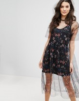 MANGO Floral Embroidered Mesh Dress