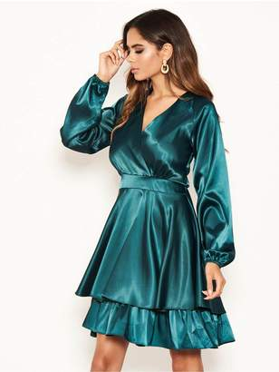 AX Paris Long Sleeved Satin Dress - Green