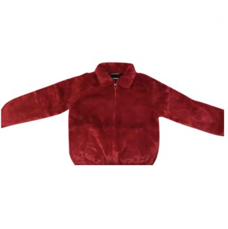 Supreme Red Faux fur Leather jackets