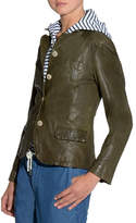 Eleventy Washed Button-Front Leather Jacket