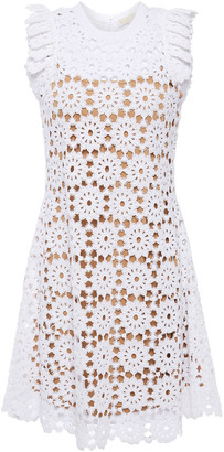 MICHAEL Michael Kors Pleated Crocheted Cotton Lace Mini Dress