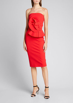 Chiara Boni Hebe Strapless Embellished Jersey Dress