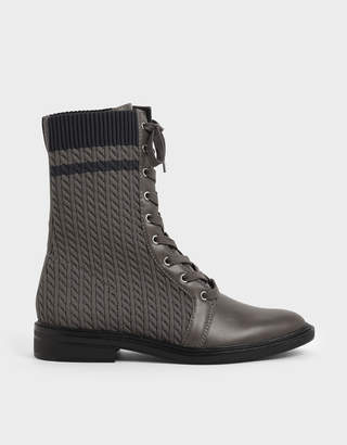 Charles & Keith Knitted Lace-Up Calf Boots