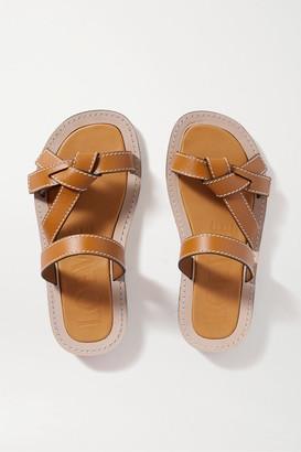 Loewe Gate Leather Slides - Brown