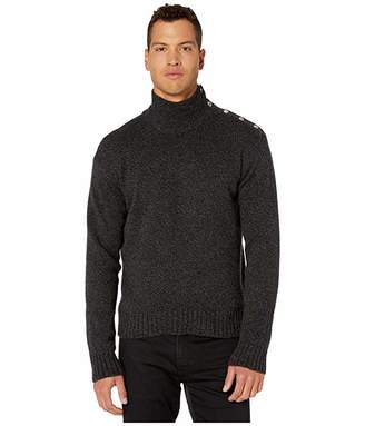 The Kooples High Neck Sweater with Buttons On Shoulders (Dark Grey) Men's Clothing