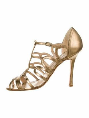 Manolo Blahnik Leather Cutout Accent Sandals Gold