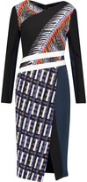 Peter Pilotto Etch paneled crepe, printed scuba, tweed and twill dress
