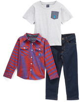 U.S. Polo Assn. Gray & Red Tee & Plaid Button-Up Set - Infant, Toddler & Boys