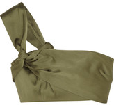 3.1 Phillip Lim One-shoulder Cropped Satin Top - Army green