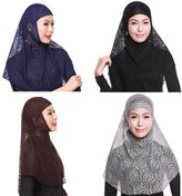 GladThink 4 X Womens Muslim Lace 2 Pieces Hijab Scarf Set No.3