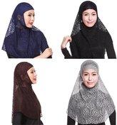 GladThink 4 X Womens Muslim Lace 2 Pieces Hijab Scarf Set No.4