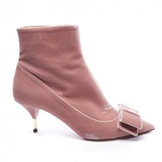 Rochas Pink Velvet Ankle boots