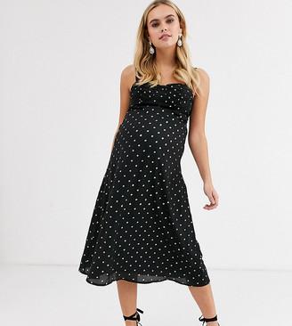 Fashion Union Maternity midi cami dress in gold dot