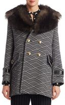 Marc Jacobs Fur & Wool Tech Geo Diamond Coat