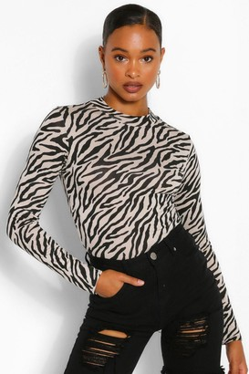 boohoo Zebra Printed High Neck Long Sleeve Top