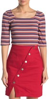 Sugar Lips Sugarlips Alta Multi-Colored Stripe Rib Knit Top