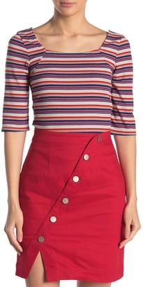 Sugar Lips Alta Multi-Colored Stripe Rib Knit Top