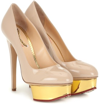 Charlotte Olympia Dolly patent leather plateau pumps