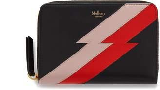 Mulberry Medium Zip Around Wallet Black Multi-Colour Flash