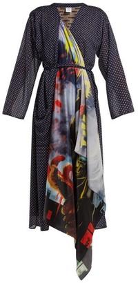 Vetements Scarf Robe Dress - Navy