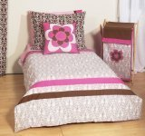 Bacati Damask Pink/Chocolate 4 Toddler Bedding Set