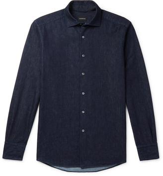 Ermenegildo Zegna Slim-fit Cutaway-collar Linen And Cotton-blend Chambray Shirt - Blue