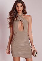 Missguided Slinky Halter Ruche Bodycon Dress Taupe